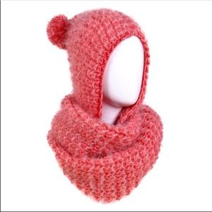 Pink Knit Scarf with Attached Poof Ball Hat